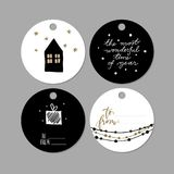 Set of doodle Christmas gift tags. Vector hand drawn cute icon. Scandinavian style printables. Xmas lettering, house. Set of doodle Christmas gift tags. Vector vector illustration