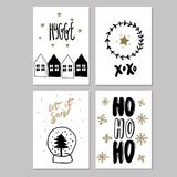 Set of doodle Christmas greeting card. Vector hand drawn cute icons. Scandinavian style. Xmas tree, houses, garland Royalty Free Stock Images