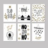 Set of doodle Christmas greeting card. Vector hand drawn cute icons. Scandinavian style. Xmas tree, houses, garland. Set of doodle Christmas greeting cards Stock Images