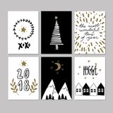 Set of doodle Christmas greeting card. Vector hand drawn cute icons. Scandinavian style. Xmas tree, houses, garland Royalty Free Stock Photos