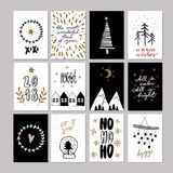 Set of doodle Christmas greeting cards. Vector hand drawn cute icon. Scandinavian style. Xmas tree, houses, garland Stock Photos