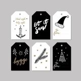 Set of doodle Christmas greeting tag. Vector hand drawn cute icons. Scandinavian style. Xmas tree, candle, hygge, santa Stock Image