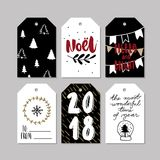 Set of doodle Christmas greeting tag. Vector hand drawn cute icons. Scandinavian style. Xmas tree, noel, garland, snow Stock Images