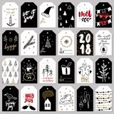 Set of doodle Christmas greeting tag. Vector hand drawn cute icons. Scandinavian style. Xmas tree, houses, garland, snow Stock Photos
