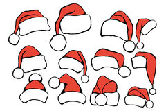 Set doodle Christmas hats Royalty Free Stock Photography
