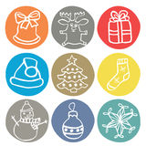 Set of 9 doodle christmas icons stock illustration