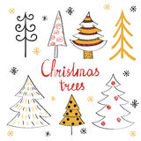 Set of doodle Christmas trees. Stock Photography