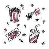 Set of doodle cinema icons. Beverage, ticket,pop-corn backet, 3d glasses Royalty Free Stock Photography