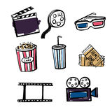 Set of doodle cinema objects Stock Image