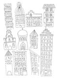 Set of Doodle City Buildings Illustrations Line Art No Fill. A set of 11 hand drawn or doodled city buildings Royalty Free Stock Photos