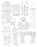 Set Of Doodle City Buildings Structures Line art No fill Bridge House Apartment. A set of 9 hand drawn buildings and a bridge. All the buildings were drawn by Royalty Free Stock Images