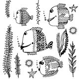 Set Doodle collection of fish pattern  illustration Royalty Free Stock Photos