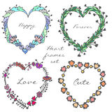 Set of doodle colorful hearts frames vector illustration Stock Images