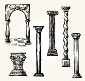 Set of doodle columns. Stock Images
