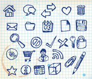 Set of doodle computer icons. For your webdesign on squared paper Stock Photo
