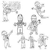 A set of doodle construction manager. Eps10 vector illustration Royalty Free Stock Images