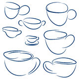 Set of doodle cups. Vector sketch blue collection. Hand drawn abstract symbol for cafe or restaurant Royalty Free Stock Photo