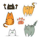 Set of doodle cute cats isolated on white background. Stock Photo