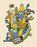 Set of Doodle cute funny cartoon monsters Royalty Free Stock Image