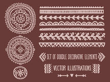 Set of doodle decoration elements Stock Photo