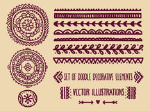 Set of doodle decoration elements Stock Photos