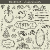 Set of doodle decorative elements Royalty Free Stock Image
