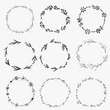 Set of doodle design elements. Arrows, wreath, floral elements Royalty Free Stock Photos