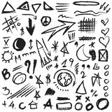 Set doodle design elements, shapes Royalty Free Stock Photo
