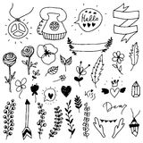 Set of doodle design elements. Stock Photos