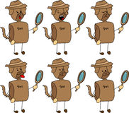 Set of doodle detective dog with facial expressions Stock Image