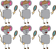 Set of doodle detective mouse with facial expressions Stock Photography