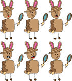 Set of doodle detective rabbit with facial expressions Stock Image