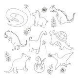 Set of doodle dinosaur Royalty Free Stock Image