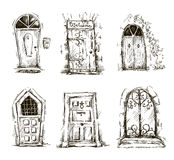 Set of doodle doors sketch, vector EPS 10 Royalty Free Stock Photos