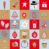 Set of doodle elements Christmas. A set of twenty-five members comprises a tree, cupcakes, snowman, balls, candle, candy and more. Background colorful Royalty Free Stock Photography