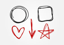 Set of doodle elements drawn by hand. Circle, square, heart, arrow, star. Sketch, scribble. Black and red isolated symbols. Vector illustration Vector Illustration