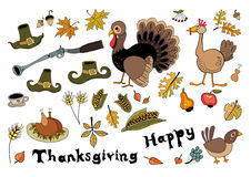 Set of doodle elements for Thanksgiving Day. Collection of elements for autumn festivals holidays Royalty Free Stock Photos