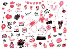 Set of doodle elements for valentine day design, save the date. With hearts, arrows, bottles, cups vector illustration stock illustration