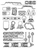 Set of doodle elements for web site with a boho pattern. Royalty Free Stock Images