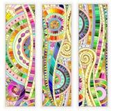 Set of  doodle ethnic cards on wood background Stock Images