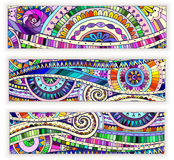 Set of  doodle ethnic cards on wood background Royalty Free Stock Images