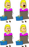 Set of doodle exhausted business woman with a briefcase Stock Photos