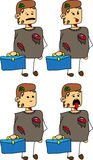 Set of doodle exhausted business zombie with a briefcase Royalty Free Stock Photo