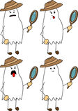Set of doodle exhausted detective ghost Stock Photos