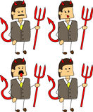 Set of doodle exhausted devil businessman Stock Photo
