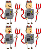 Set of doodle exhausted devil robot, android Royalty Free Stock Photos