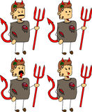 Set of doodle exhausted devil zombie Royalty Free Stock Photography