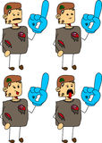 Set of doodle exhausted zombie sports fan with glove Stock Photography