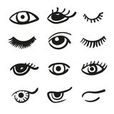Set of doodle eyes and lashes. Vector black and white icons Stock Image
