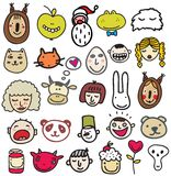 Set of doodle faces. Stock Image